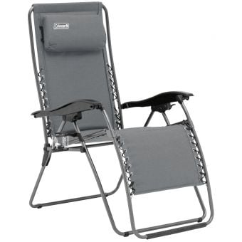 Coleman Layback Lounger Flat Fold Recliner Chair Heather Grey