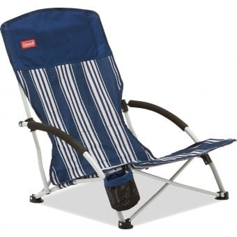 Coleman Low Sling Quad Beach Chair Navy Stripe