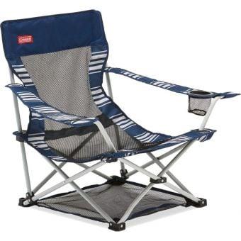 Coleman Low Sling Quad Mesh Beach Chair Navy Stripe