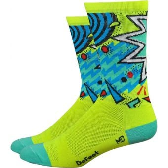 Defeet Aireator Shazam Hi Viz 15cm Socks Yellow/Blue