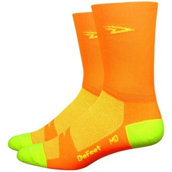 "DeFeet D-Logo 5"" Hi Vis Aireator Socks Neon Orange/Neon Yellow"