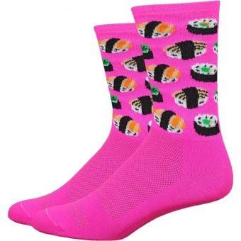 "DeFeet Sushi 6"" Aireator Socks Hi-Vis Pink"