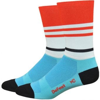 "Defeet Vintage Jersey 6"" Aireator Socks Light Blue/Poinciana"