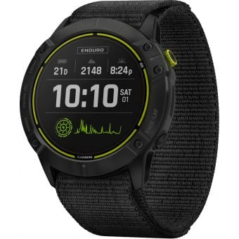 Garmin Enduro GPS Multisport Watch Carbon Grey DLC Titanium w/Black UltraFit Nylon Strap