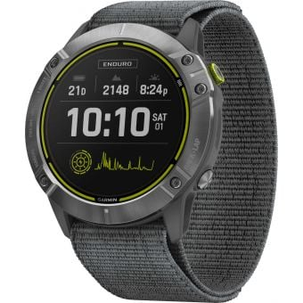 Garmin Enduro GPS Multisport Watch Steel w/Grey UltraFit Nylon Strap