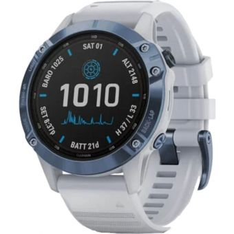 Garmin Fenix 6 Pro Solar Edition Multisport 47mm GPS Mineral Blue/Whitestone Band