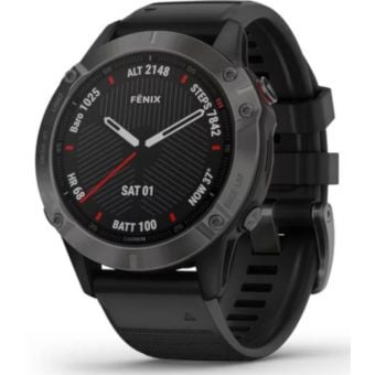 Garmin Fenix 6 Sapphire 47mm Multisport GPS Watch Carbon Grey DLC/Black Band