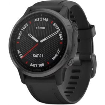 GARMIN fenix 6S Multisport GPS Watch Sapphire Carbon Gray DLC with Black Band