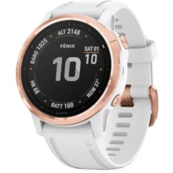 GARMIN fenix 6S Pro Multisport GPS Watch Rose Gold-Tone with White Band