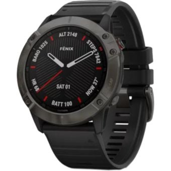 GARMIN fenix 6X Multisport GPS Watch Sapphire Carbon Grey DLC with Black Band