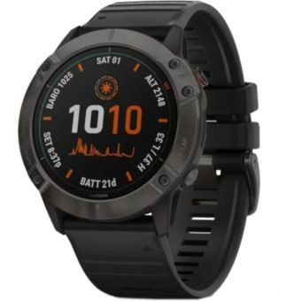 GARMIN fenix 6X Pro Solar Multisport GPS Watch Solar Titanium Carbon Grey DLC with Black Band