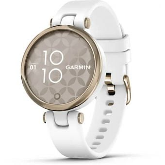 Garmin Lily Womens Smart Watch Cream Gold Bezel/White Case/Silicone Band