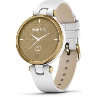Garmin Lily Womens Smart Watch Light Gold Bezel/White Case/Leather Band