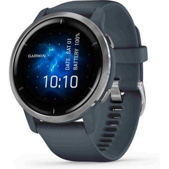 Garmin Venu 2 GPS Smart Watch Silver Stainless Steel Bezel w/Granite Blue Case
