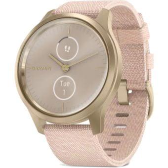 Garmin Vivomove Style Smartwatch Champagne Aluminum Case/Blush Pink Woven Nylon Band