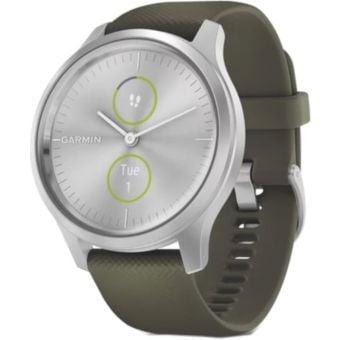 Garmin Vivomove Style Smartwatch Silver Aluminum Case/ Moss Silicone Band