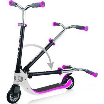 Globber Foldable FLOW 125 Scooter White/Pink Folding Action