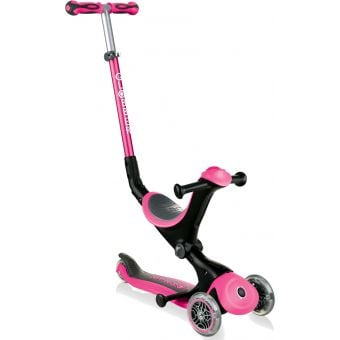 Globber Go Up Deluxe Convertible Ride On Scooter Pink