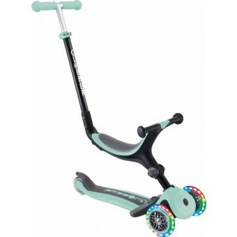 Globber Go Up Fold Plus Light Up Convertible Ride On Scooter Mint
