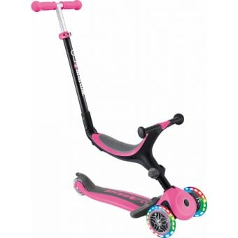 Globber Go Up Fold Plus Light Up Convertible Ride On Scooter Pink