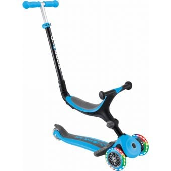 Globber Go Up Fold Plus Light Up Convertible Ride On Scooter Sky Blue