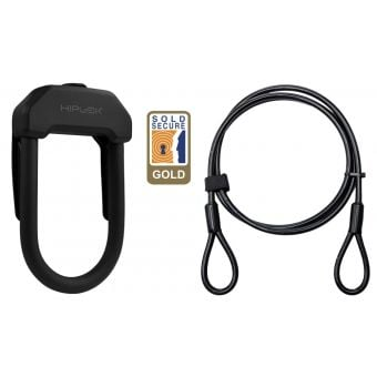 Hiplok DX Maximum Security D Lock Black with 2m Cable