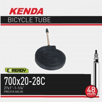 Kenda 700x20-28C 48mm Non-Thread Presta Valve Tube