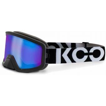KOO Edge MTB Goggles Black/White with Blue Mirror Lens