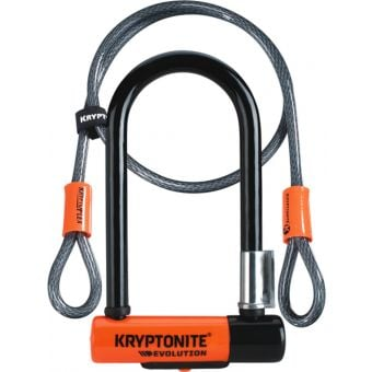 Kryptonite Evolution Mini-7 U-Lock 8.3cm x 17.8cm (w/ Kryptoflex Cable 122cm) Black/Orange