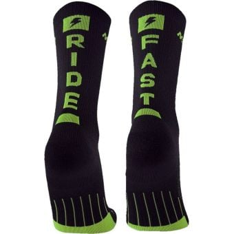 M2O Ride Fast Crew Plus Compression Socks Black/Green