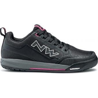 Northwave Clan Womens Flat Pedal Shoes Black/Fushsia
