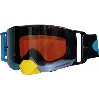 OAKLEY Frontline MX Goggles Dissolve Yellow Blue/Prizm Mx Sapphire Lens
