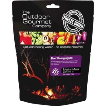 Outdoor Gourmet Freeze Dried Meals Beef Bourguignon Serves 2