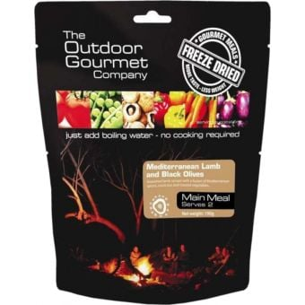 Outdoor Gourmet Freeze Dried Meals Mediterranean Lamb with Black Olives Serves 2
