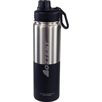 Oztent Alpine 710ml Stainless Vacuum Insulated Bottle Silver/Black