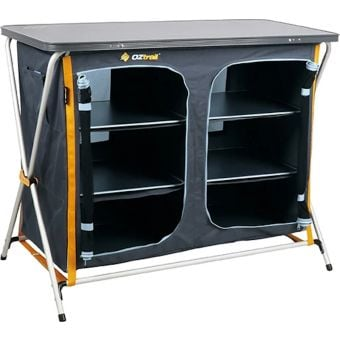OZtrail 3 Shelf Double Deluxe Folding Camp Cupboard