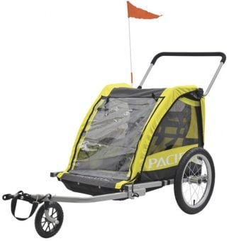 Pacific 2 In 1 Double Child Bike Trailer/Walker Fluro Yellow