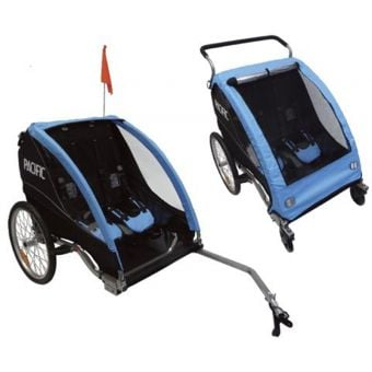 Pacific Deluxe 2 In 1 Trailer/Stroller - 2 Child Black/Blue