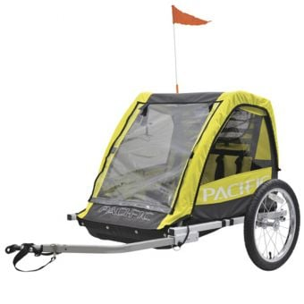 Pacific Double Child Bike Trailer Fluro Yellow