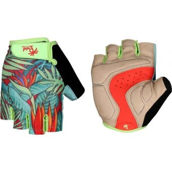 Pedal Palms Bird of Paradise Fingerless Gloves Blue/Green/Tan
