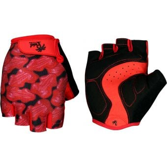 Pedal Palms Red Frog Fingerless Gloves Red/Black