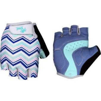 Pedal Palms Zig Zag Fingerless Gloves Blue/White/Pink