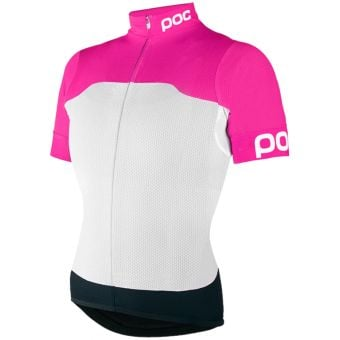 POC AVIP Womens Printed Light SS Jersey White/Fluo Pink X-Small