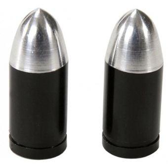 Rex Bullet Replica Valve Caps Black-Silver