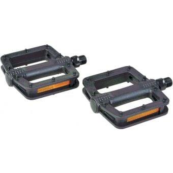 "Rex Plastic 9/16"" One-Piece MTB Pedals w/ Moulded Pins Black"