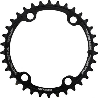 Rotor noQ Rings 36T 110BCD 4 Bolt Spider Mount Chainring Black