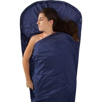 Sea To Summit Mummy Hooded Silk + Cotton Sleeping Bag Liner Navy
