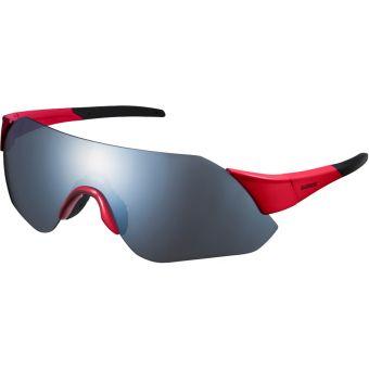 Shimano Aerolite Sunglasses Red w/ Smoke Silver Mirror Lens