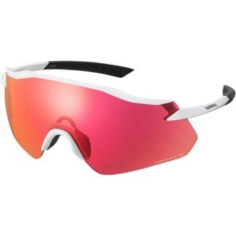 Shimano Equinox Sunglasses Metallic White w/ Red Ridescape Road Lens