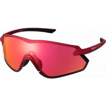 Shimano S-Phyre X Sunglasses Matte Metallic Red w/ Red Ridescape Road Lens